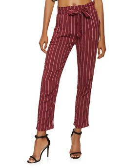 Striped Tie Front Pants - 3061054264844