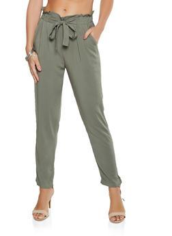 Solid Tie Front Pants - 3061054266999