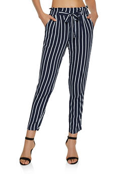 Striped Tie Front Pants - 3061054267048