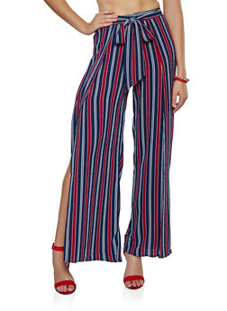 Striped Split Side Palazzo Pants - 3061054267076