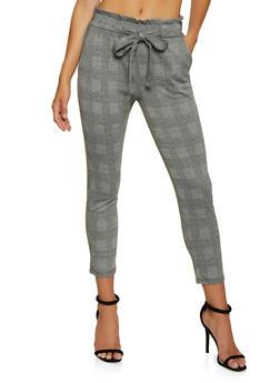 Plaid Knit Dress Pants - 3061054267083
