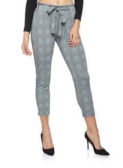 Plaid Paper Bag Waist Pants - 3061054268322