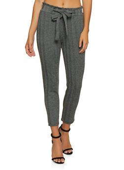 Tie Waist Herringbone Dress Pants - 3061054268327