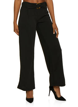 O Ring Detail Flared Dress Pants - 3061060583108
