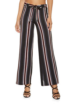Striped Tie Front Palazzo Pants - 3061060583114