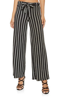 Striped Tie Front Palazzo Pants - 3061060583116
