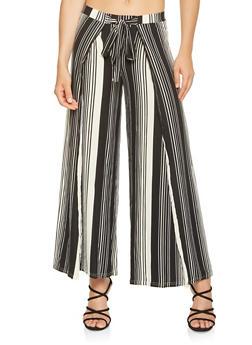 Striped Split Leg Palazzo Pants - 3061060583128