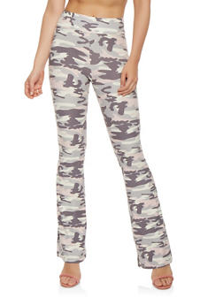 Soft Knit Camo Flared Pants - 3061061637404