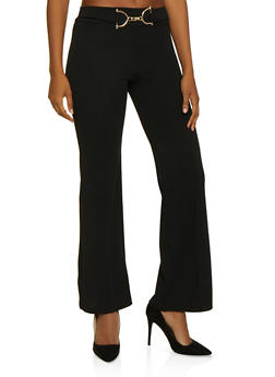 Pintuck Metallic Detail Dress Pants - 3061062416783