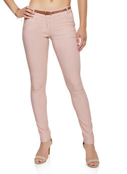 Stretch Belted Skinny Pants - 3061062700033