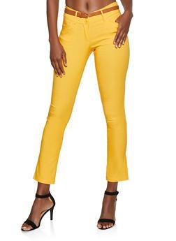 Belted Skinny Dress Pants - 3061062700070