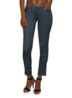 Belted Skinny Dress Pants - 3061062700070
