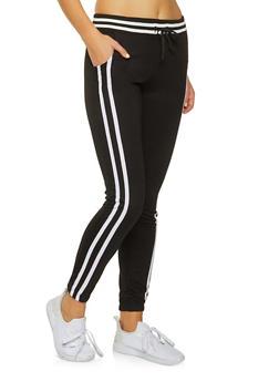 Elastic Waist Varsity Stripe Joggers - 3061062700887