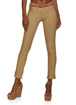 2 Button Belted Fixed Cuff Dress Pants - 3061062702360