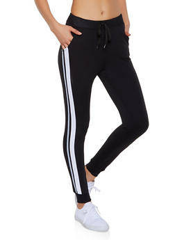 French Terry Lined Side Stripe Joggers - 3061062707756