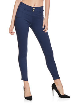 2 Button High Waisted Jeggings - 3061062907171