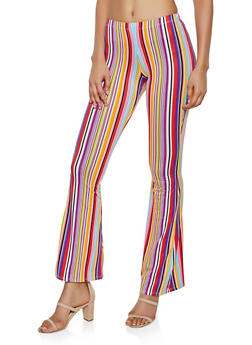 Soft Knit Multi Stripe Flared Pants - 3061074010007