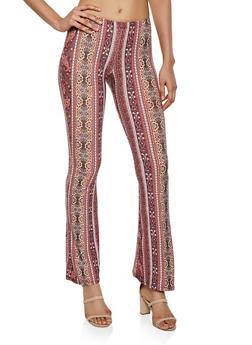 Border Print Flared Casual Pants - 3061074010008