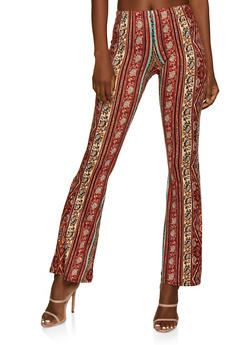 Border Print Flared Casual Pants - 3061074010008
