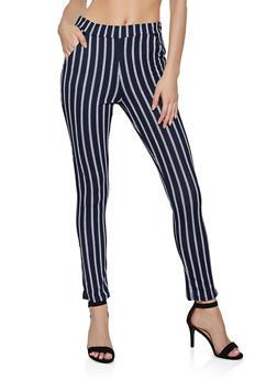 Striped Skinny Dress Pants - 3061074010044