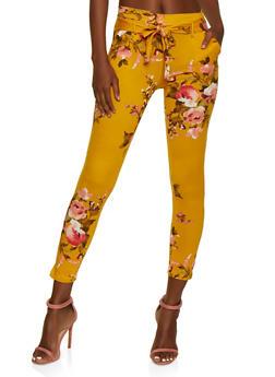 Floral Tie Front Skinny Pants - 3061074010046