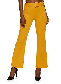 Pinstripe Belted Dress Pants - 3061074010047