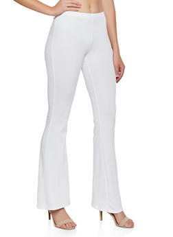 Ribbed Knit Flared Pants - 3061074010062