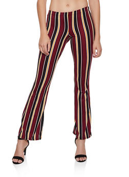 Striped Soft Knit Flared Pants | 3061074010079 - 3061074010079