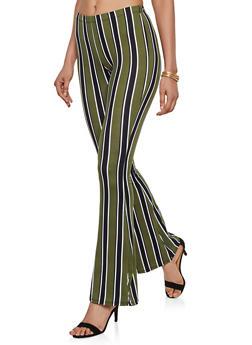 Striped Soft Knit Flared Pants | 3061074010079 - 3061074010079