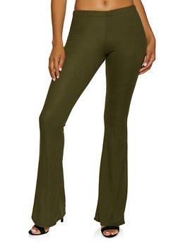 Rib Knit Flared Pull On Pants - 3061074010088