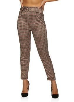 High Waisted Plaid Dress Pants - 3061074010090