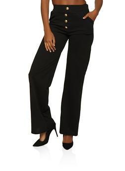 Anchor Button Detail Dress Pants - 3061074010094