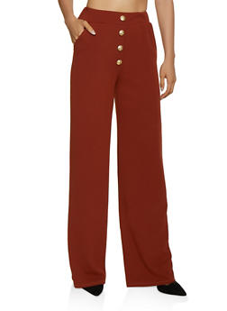 Anchor Button Detail Dress Pants - 3061074010094