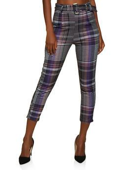 Belted Front Plaid Dress Pants - 3061074010097