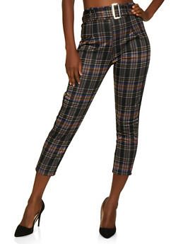 Belted Front Plaid Dress Pants - 3061074010097
