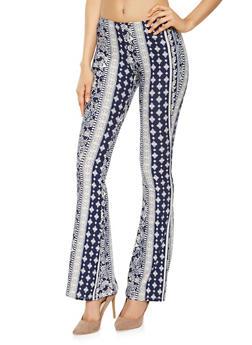 Printed Flared Soft Knit Pants - 3061074010285