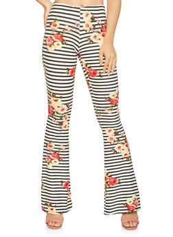 Printed Flared Soft Knit Pants - 3061074010285