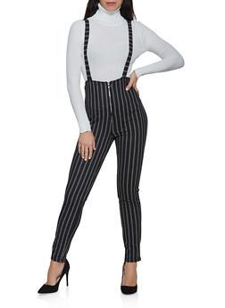 Striped Zip Suspender Pants - 3061074010563