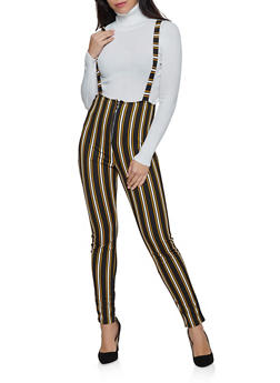 Striped Zip Suspender Pants - 3061074010563