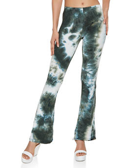 Tie Dye Flared Soft Knit Pants - 3061074010962