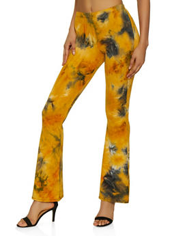 Tie Dye Flared Soft Knit Pants - 3061074010962