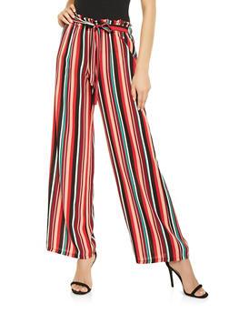 Striped Tie Waist Palazzo Pants - 3061074011195