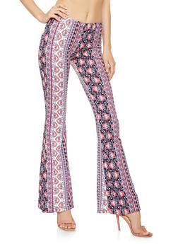 Printed Soft Knit Flared Pants - 3061074011785