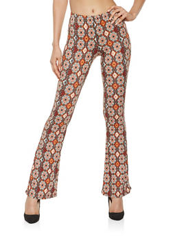 Printed Soft Knit Flared Pants - 3061074011785