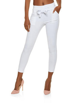Tie Front Stretch Skinny Pants - 3061074015033