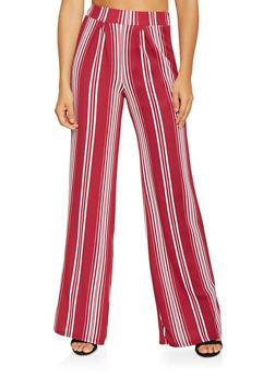 Striped Textured Knit Palazzo Pants - 3061074015806