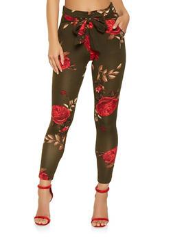 Floral Tie Front Pants - 3061074015818