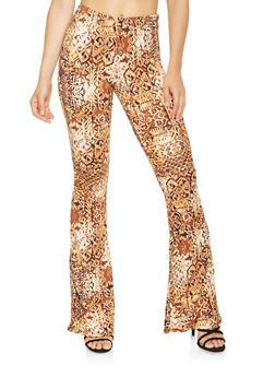 Striped Soft Knit Flared Pants - 3061074015820