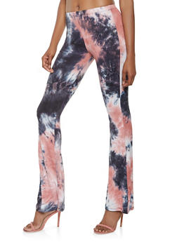 Soft Knit Tie Dye Flared Pants - 3061074015857