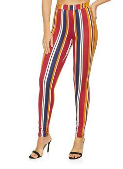 Striped Soft Knit Leggings - 3061074015859